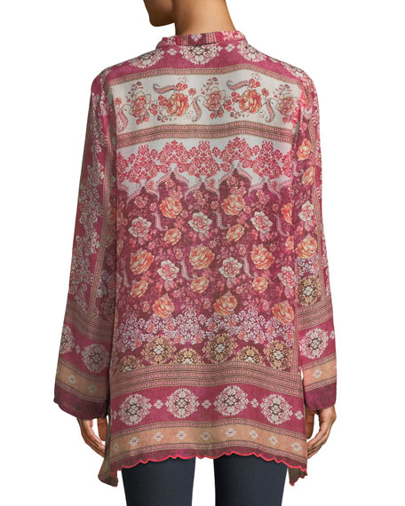 Long Frame-Print Georgette Tunic, Plus Size