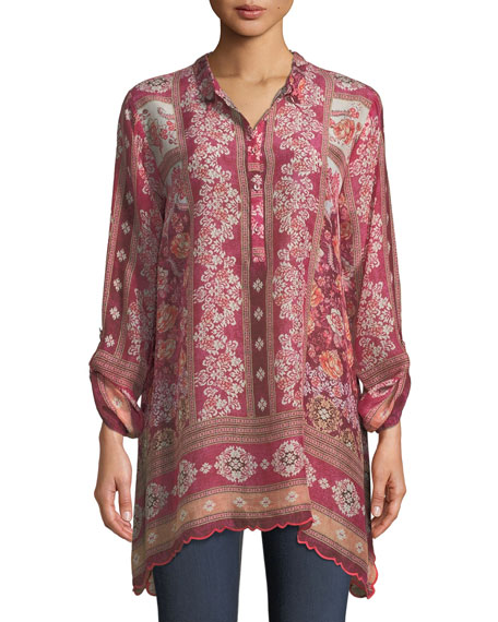 Johnny Was Long Frame-Print Georgette Tunic, Plus Size