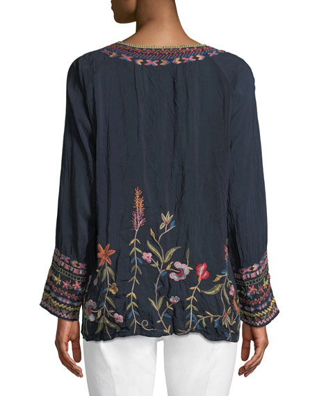 Gella Butterfly-Embroidered Long-Sleeve Top, Plus Size