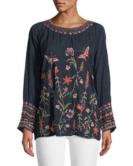Johnny Was Gella Butterfly-Embroidered Long-Sleeve Top, Plus Size