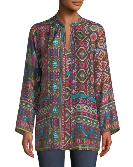 Johnny Was Emilia Silk Georgette Printed Blouse, Plus
