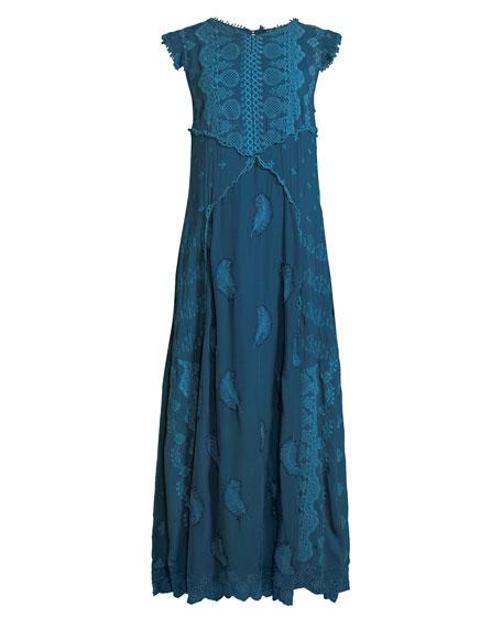 Xanafa Cap-Sleeve Rayon Georgette Maxi Dress