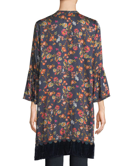 Flare-Sleeve Floral-Print Tunic w/ Velvet Trim
