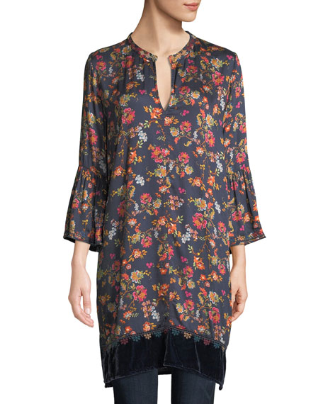 Johnny Was Flare-Sleeve Floral-Print Tunic w/ Velvet Trim
