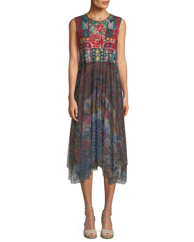 Madeline Sleeveless Mesh Dress w/Floral Embroidery