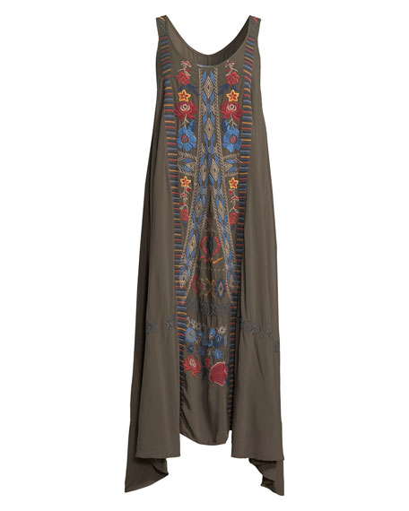 Quipton Sleeveless Embroidered High-Low Dress