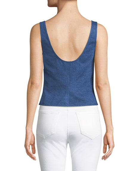 Paula Zip-Front Denim Tank Top