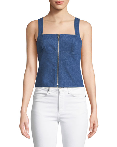rag & bone/JEAN Paula Zip-Front Denim Tank Top
