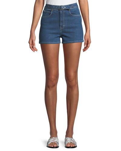 Derby Belted High-Waist Denim Shorts