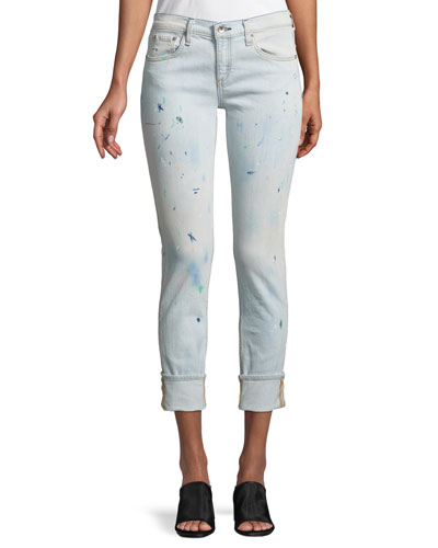 Ankle Dre Splattered Cropped Jeans