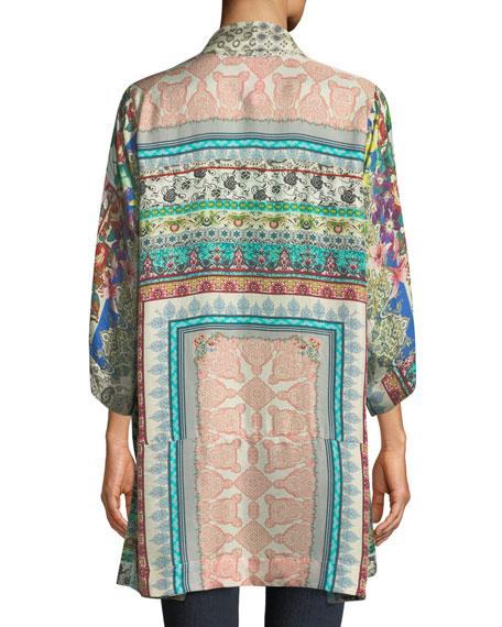 Plus Size Samira Long Silk Kimono Jacket