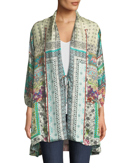 Johnny Was Samira Long Silk Kimono Jacket, Plus