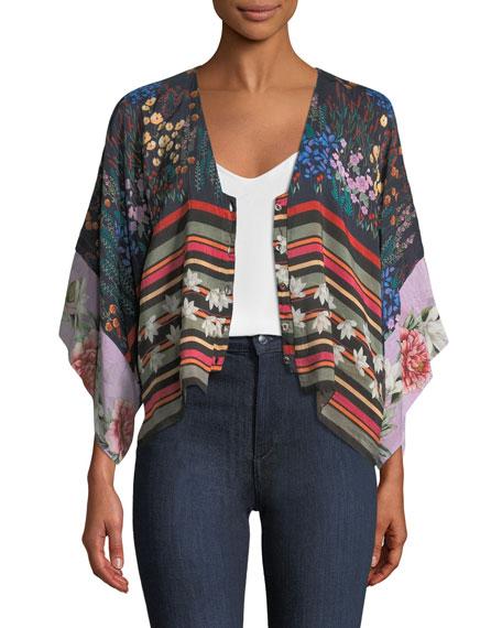 Angie Mixed-Print Button-Front Shrug Shirt/Jacket