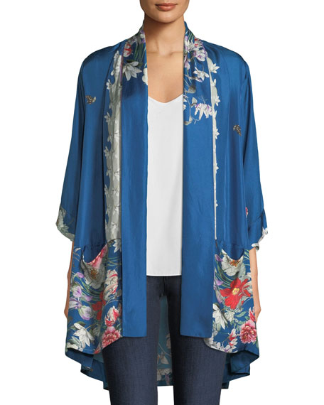 Johnny Was Samira Long Floral-Print Silk Kimono Jacket,