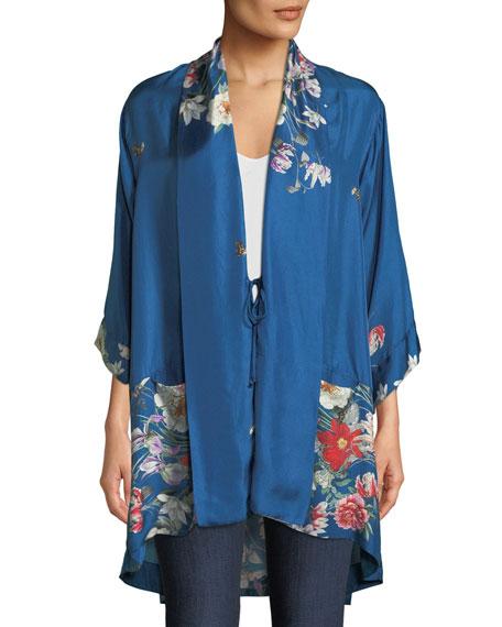 Samira Long Floral-Print Silk Kimono Jacket