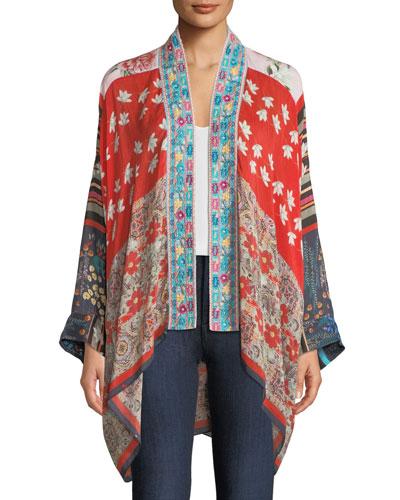 Mixed-Print Kimono w/ Embroidery, Plus Size