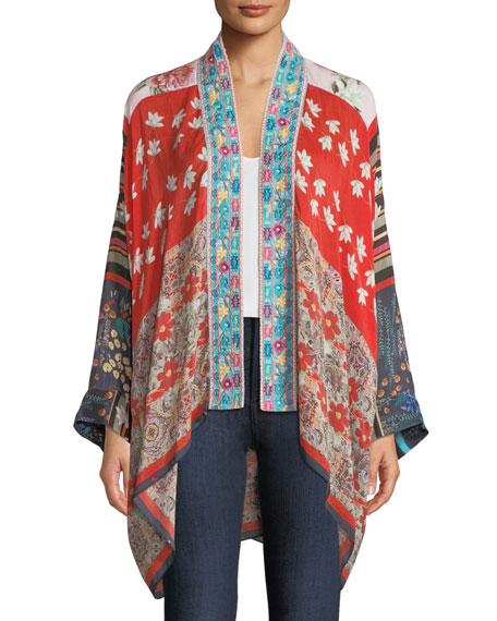 Johnny Was Mixed-Print Kimono w/ Embroidery, Plus Size