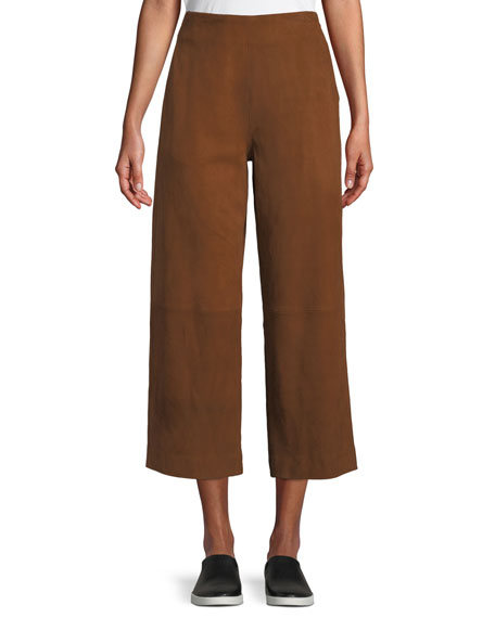 Cropped High-Rise Suede Culottes