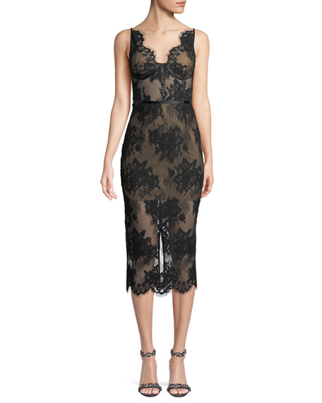 Misha Finley Sheer Floral Lace Dress