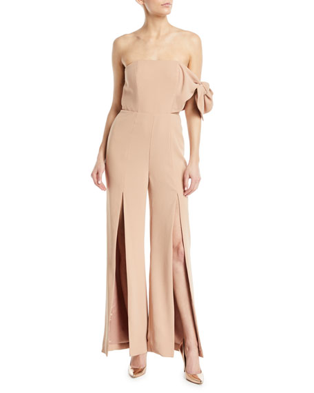 MISHA Linsey Strapless Flared-Leg Pantsuit in Mocha