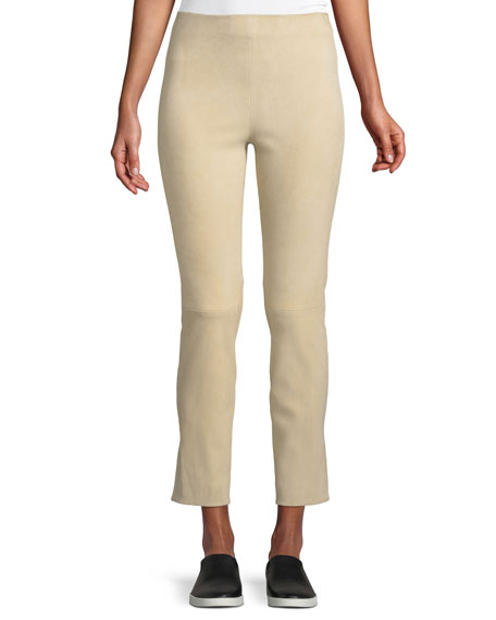 Cropped Stretch-Suede Split-Hem Pants