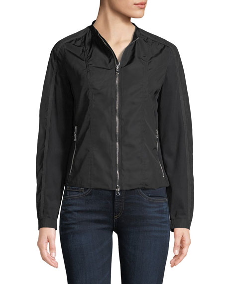 Lora Zip-Front Nylon Fleece Jacket