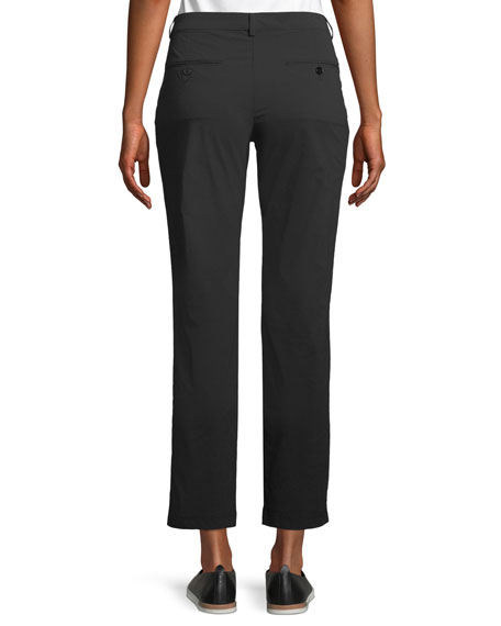 Thea Straight-Leg Ankle-Length Pants w/ Side Zip Pockets