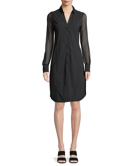 Anatomie Angie Mesh-Sleeve Shirtdress