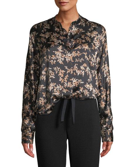 Eden Leaf-Print Button-Front Silk Top