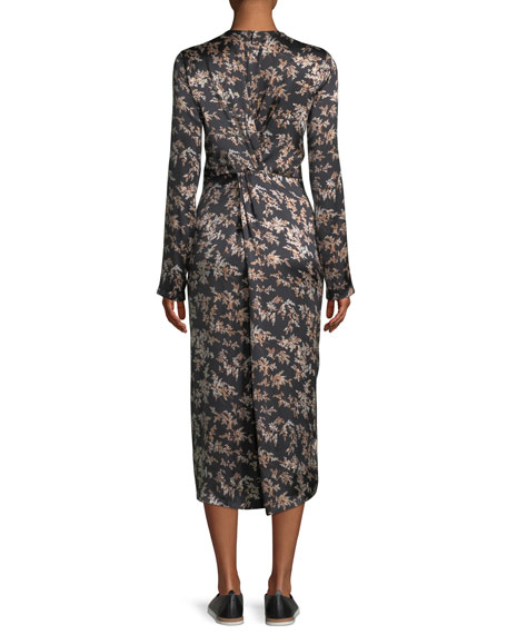 Eden Leaf-Print Twist-Front Silk Midi Dress