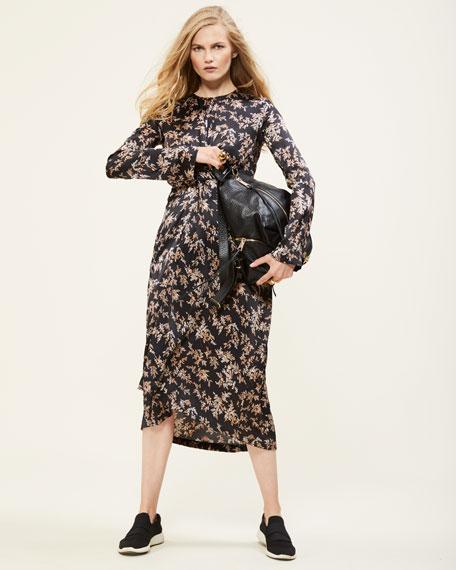 Eden Leaf-Print Twist-Front Silk Midi Dress