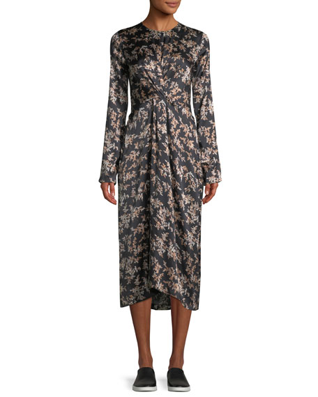 Eden Leaf-Print Twist-Front Silk Midi Dress, Black