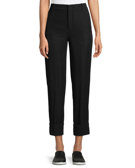 Cuffed Straight-Leg Crepe Trousers