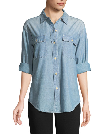 Button-Front Cotton Chambray Shirt