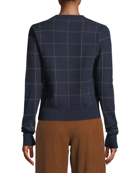 Windowpane Cashmere Crewneck Sweater