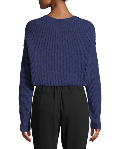 Paneled Crewneck Wool-Blend Sweater