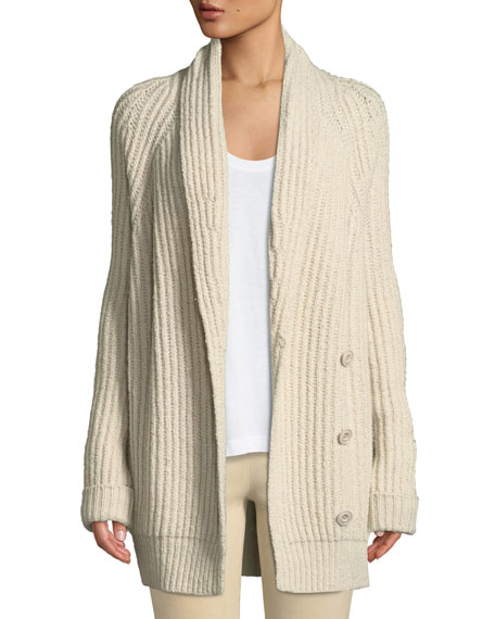 Shawl-Collar Wool-Blend Cardigan