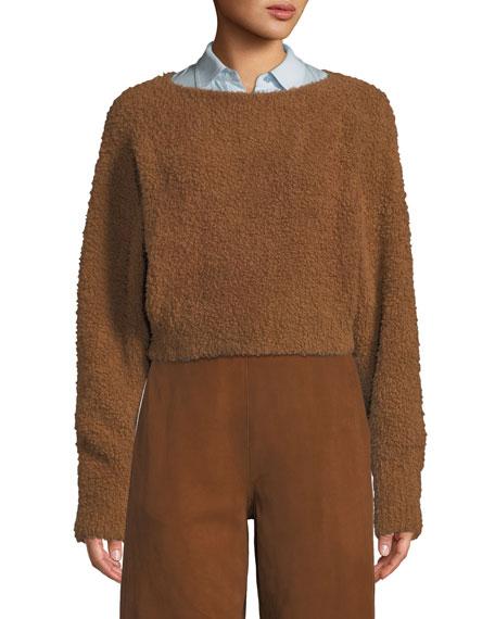 f807b6b644c29 Vince Teddy Cropped Boat-Neck Wool-Blend Sweater In Cognac