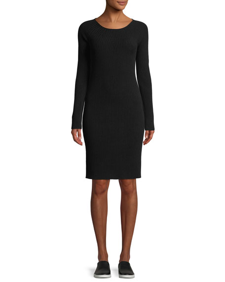 Ribbed Merino Wool Scoop-Neck Dress