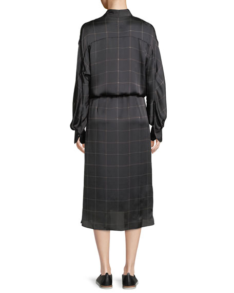 Long-Sleeve Plaid Midi Dress