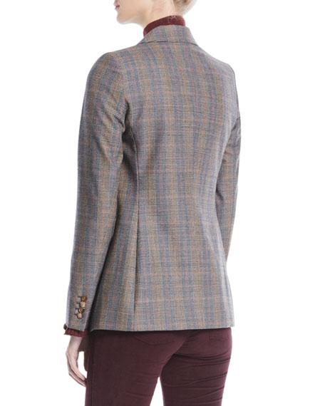Heather One-Button Eloquent Plaid Jacket