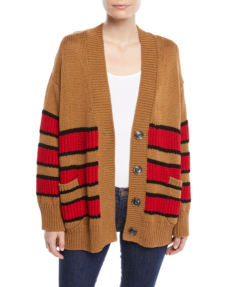 Striped Oversized Snap-Front Cotton Cardigan