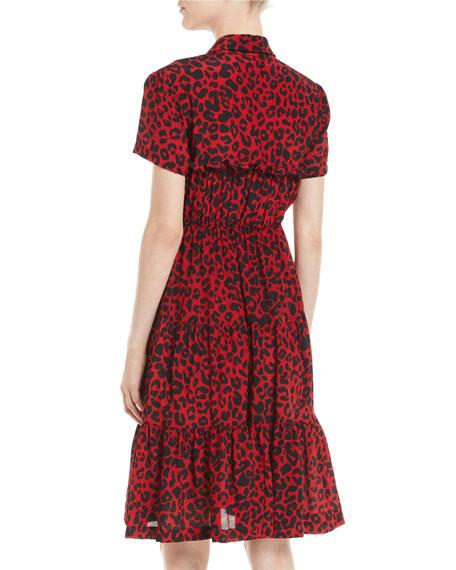 Leopard-Print Ruffle Short-Sleeve Dress
