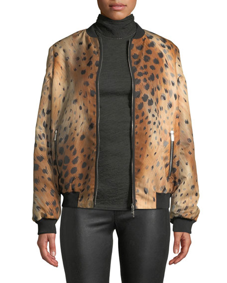 Melrose Zip-Front Leopard-Print Tech Cloth Bomber Jacket, Saddle Multi