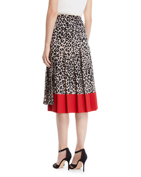 Pleated Leopard-Print Draped Silk Midi Skirt