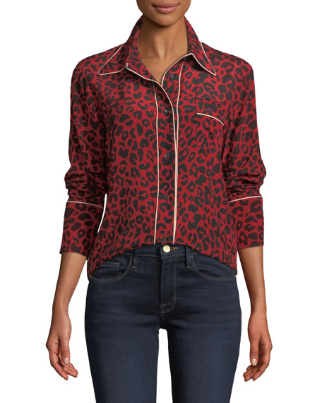 No. 21 Leopard-Print Silk Button-Front Blouse