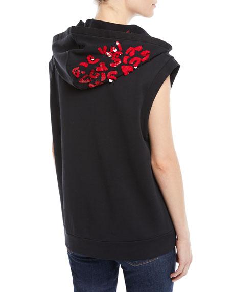 Sleeveless Zip-Front Sequin Hoodie Sweatshirt