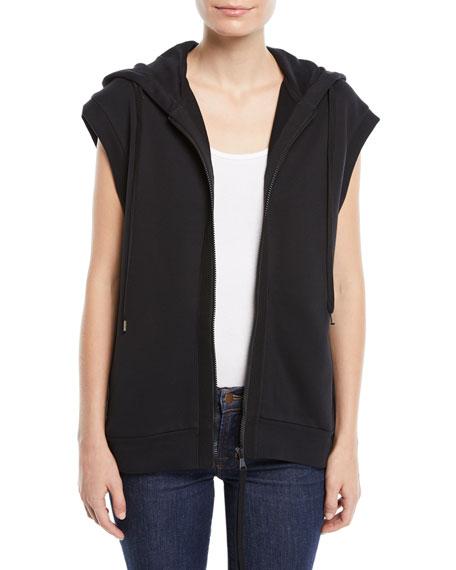 No. 21 Sleeveless Zip-Front Sequin Hoodie Sweatshirt