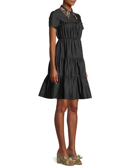 Shirred Shirt Dress w/ Embellished Collar