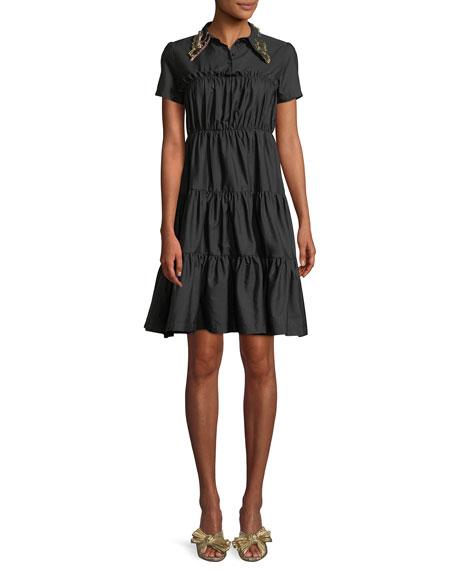 No. 21 Shirred Shirt Dress w/ Embellished Collar